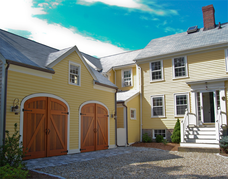 Elliptical arch top garage doors that swing out