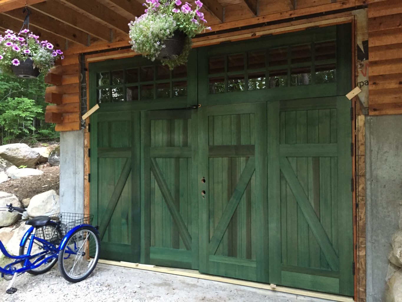 131. CL14 design – Z brace folding doors with transom - installation in progress; York, Maine