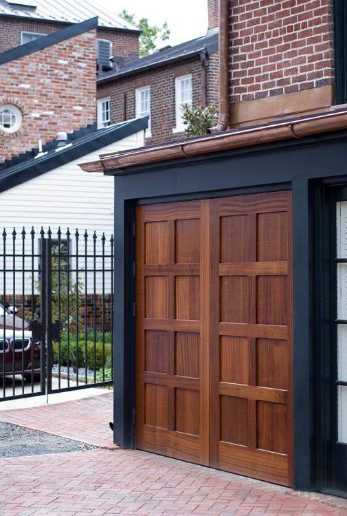 61. Custom Design – Square top, (4x2) flat panels, Sapele Mahogany, w/ butt hinges; Alexandria, VA