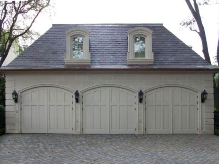 63. CTL14-A Design – Arch top, (3) vertical raised panels, painted, w/ butt hinges; Hurst, TX