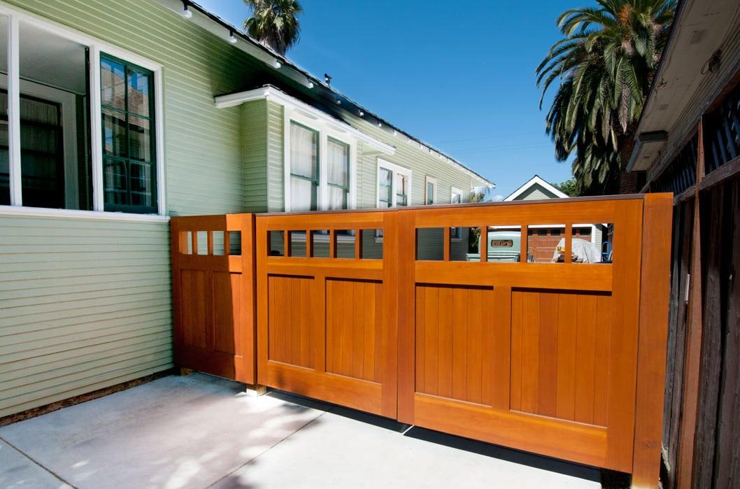 25.  CSTM Design – Square entrance gate, (1x5) openings, (2) vertical tongue + groove panels, Vertical grain Douglas Fir, w/ butt hinges; San Jose, CA